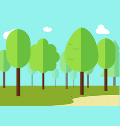Green landscape with forest flat design vector