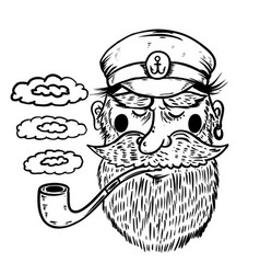 hand drawn captain sailor with smoking pipe vector image
