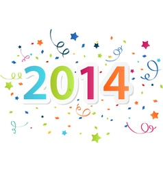 Happy New Year 2014 with colorful celebration back vector image vector image
