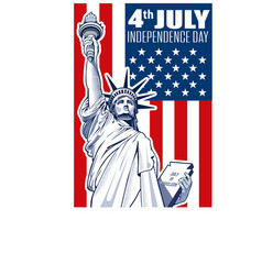 liberty statue independence day vector image vector image