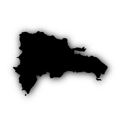 map of the dominican republic with shadow vector image