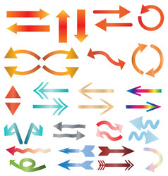 multicolors arrow icon on white background colors vector image vector image