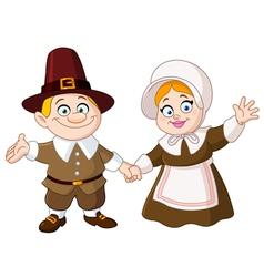 pilgrim couple vector image vector image