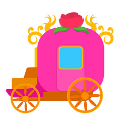 Pink brougham for little princess icon vector
