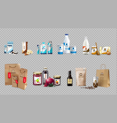 realistic food products milk and honey vector image vector image