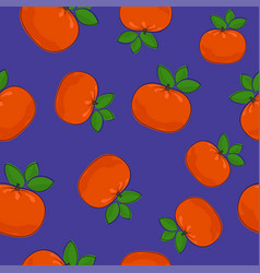 Seamless pattern mandarin on purple background vector