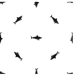 shark fish pattern seamless black vector image vector image