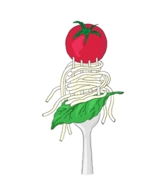 Spaghetti with cherry tomato and Basil leaf on a vector image vector image