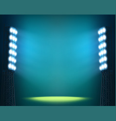 Stadium lights against dark night sky background vector