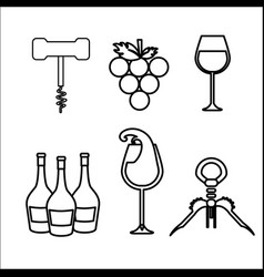 Take out cork grape bottles and glass of wine vector