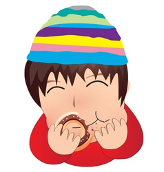 The boy eat doughnut cartoon vector image