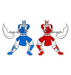 Two warrior vector