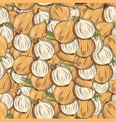 Vintage onion seamless pattern vector