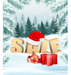 winter sale background with branches of tree and vector image vector image