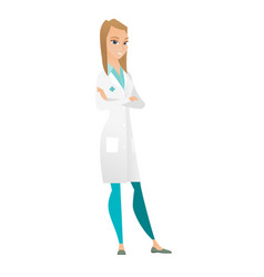 Young caucasian confident doctor with folded arms vector
