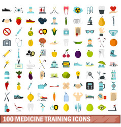 100 medicine training icons set flat style vector image