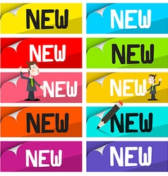 New Labels Set Colorful Stickers with New Title vector image