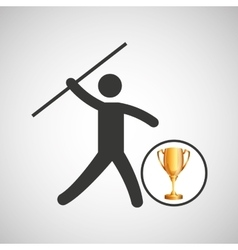 Silhouette man javelin athlete trophy vector