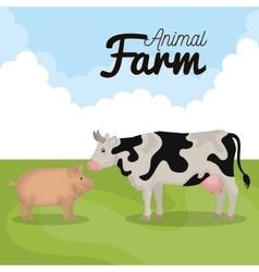 Animals farm in the field vector