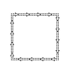 Arrow on a square shape black dashed icon vector