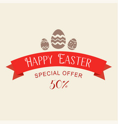 easter sale special offer with red ribbon banner vector image
