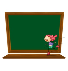 A blackboard with a girl skating vector image