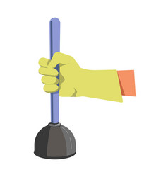 Hand in green lime rubber glove holds color vector