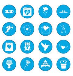 Valentines icon blue vector