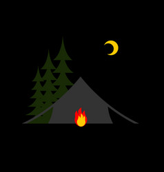 Camping night isolated sun forest and tent vector