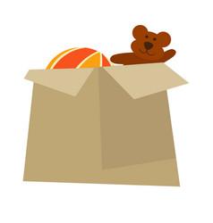 Cardboard box with childish toys isolated cartoon vector