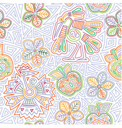 mexican embroidery seamless pattern vector image