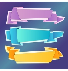 Origami banners set vector image