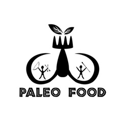 Paleo food with mammoth tusks and cavemans vector