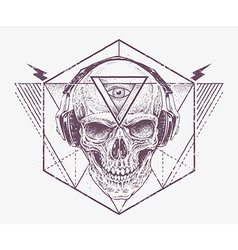 Dotwork skull art vector