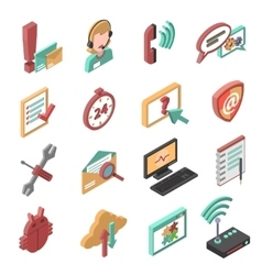 Support isometric icons set vector