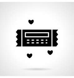 Valentines gift coupon black icon vector