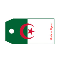 Algeria flag on price tag with word made in vector