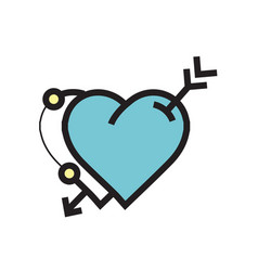 Arrow on twins heart icon blue vector