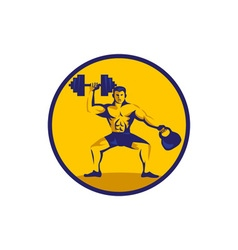 Athlete lifting kettlebell dumbbell circle retro vector