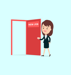businesswoman walk and open red door with new job vector image vector image