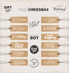 Calligraphic christmas and birthday gift tags vector