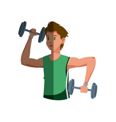 Cartoon sport man weight lifting design graphic vector
