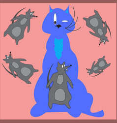 Cat and rat vector