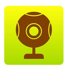 Chat web camera sign brown icon at green vector
