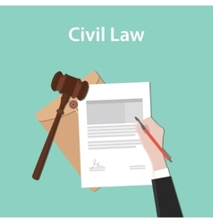Civil law concept a business man hand vector