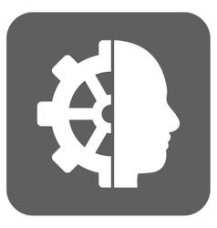 Cyborg gear flat squared icon vector