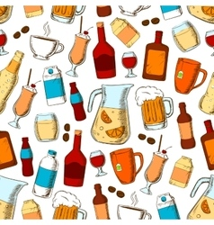 Drinks seamless pattern Alcohol fresh and vector image