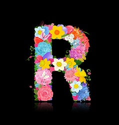 Fancy letter of beautiful flowers on black vector