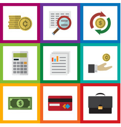 Flat icon finance set of interchange document vector