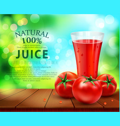 Glass of tomato juice vector